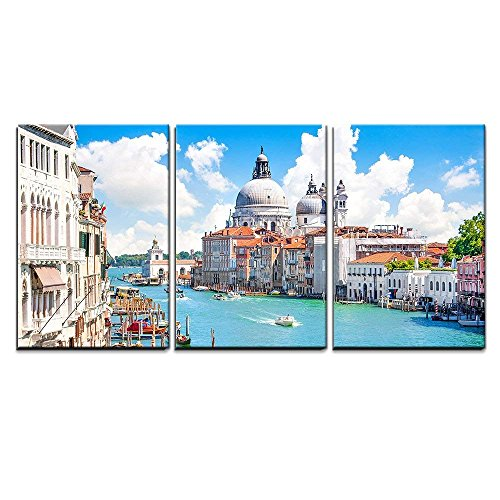 wall26 - 3 Piece Canvas Wall Art - Grand Canal with Basilica Di Santa Maria Della Salute, Venice, Italy - Modern Home Decor Stretched and Framed Ready to Hang - (Venice Grand Canal)