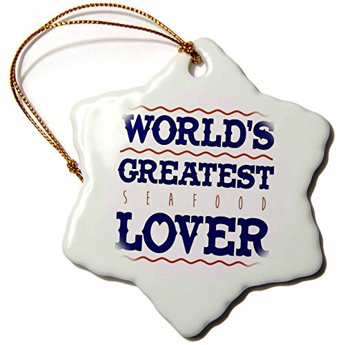 Russ Billington Designs - Seafood- Worlds Greatest Seafood Lover - 3 inch Snowflake Porcelain Ornament (239106_1) -