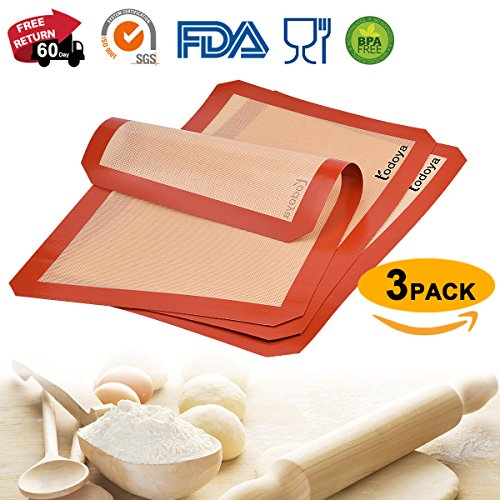 """Silicone Baking Mat,3 Set Non Stick Silicon Mat for Baking Sheet Cookie Macaron Bread,Silicone Baking mats Liner Professional Food Grade Cooking Mats for Oven Baking Half Sheet 16.5'x11.5"""""""