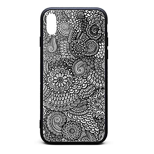 Mehndi Art Henna Paisley Doodles Design Black Phone Case for iPhone Xs Max TPU Protective Perfectly fit Anti-Scratch Fashionable Glossy Anti Slip Thin Shockproof Soft Case