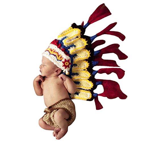 Happy Cherry Neugeborenes Baby Indianer Figur Foto Kostüm Fotografie Prop Handarbeit Bekleidungsset Fotoshooting Stricken Tiere Kostüm Unisex Baby Trikot Foto Outfits Requisiten Für 3-4 Monate