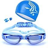 Swimming Goggles + Swim Cap + Case + Nose Clip + Ear Plugs Swim Goggles Waterproof Mirrored & Clear Anti Fog UV400 Protection Lenses for Adult Men Women Youth Kids Blue