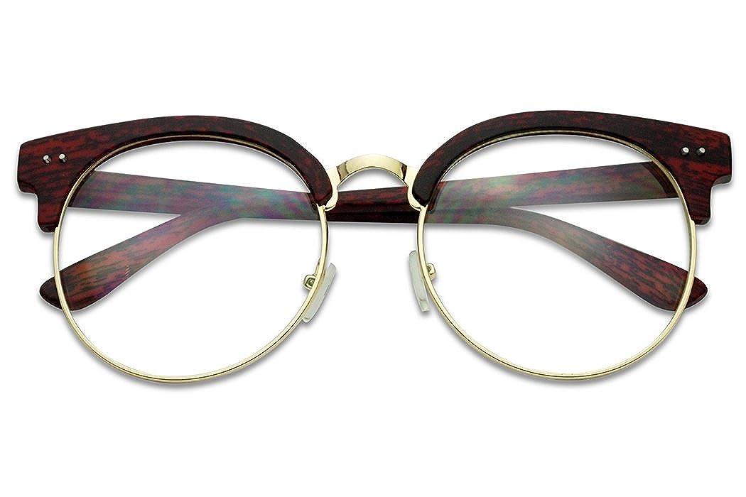 Amazon.com: Ronda marco de madera Imprimir la mitad anteojos ...