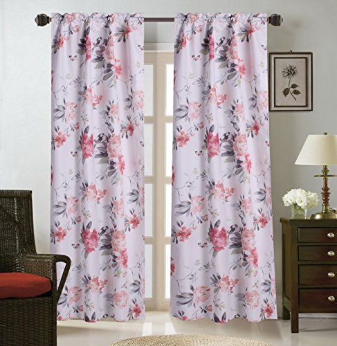 (GorgeousHomeLinen (WARDA) 1 Panel Print Design Insulated Thermal Blackout Window Curtain Rod Pocket, 35