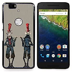 - Alien Cartoon Man Character Zombie Art - - Snap-On Rugged Hard Cover Case Funny HouseFOR Huawei Nexus 6P