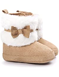Baby Premium Soft Sole Bow Anti-Slip Mid Calf Warm Winter Infant Prewalker Toddler Snow Boots