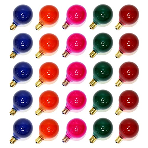 Sival 40121 - G40 Candelabra Screw Base Satin Multi-Color (25 pack) Christmas Light Bulbs