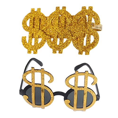 Homyl Pack of 2pcs Bling US Dollar Signs Sunglasses Shades Money Ring Costume Big Daddy Pimp Fancy Dress Fashion DJ Accessory