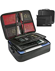 Document Bag with Lock, TOPGOOSE Waterproof Fireproof Document Bag with 2 Pack Money Bags, Document Safe Portable Travel Home Organizer Box for Important File Passport Certificates Legal Documents