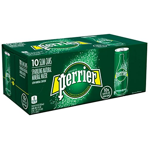 PERRIER Sparkling Mineral Water, 8.45-Ounce Slim Cans (Pack of 10) (Sparkling Water)