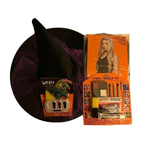 Witch's Hat, Witch's Blond Wig (Accessories and Apparel Not Included), Witch Nose and Family Makeup Kit (Make Up Ideas For Halloween Devil)