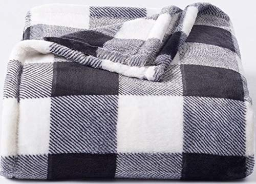 (The Big One Supersoft Plush Throw Black White Buffalo Check - 60