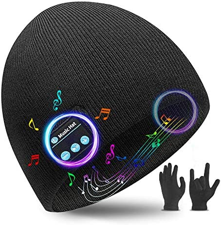 Bluetooth Beanie Bluetooth 5.0 Wireless Headset Music Winter Beanie Hat Build in 2 HD Stereo Speakers and Mic, Christmas Birthday Gifts for Men Women Dad Mom Teen Boys Girls (2021 New Year Black)