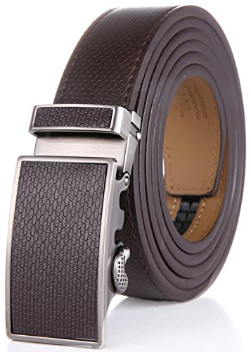 Marino Men's Wide Rimmed Imprinted Leather Ratchet Dress Belt with Automatic Buckle, Enclosed in an Elegant Gift Box - Mocha Leather Buckle with Mocha Leather - Custom: Up to 44