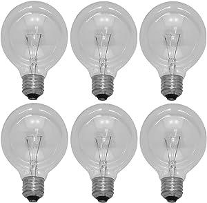 40 Watt G25 Globe Light Bulbs, Crystal Clear, 6-Pack Replaces GE 12980 Westinghouse 04119