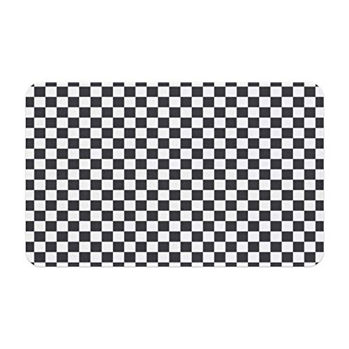 Livetty Memory Foam Bath Mat Non Slip Absorbent Super Cozy Microfiber Velvet Bathroom Rug Plush Carpet Black and White Squares Checkered Mats for Tub Shower and Bath Room 17x24 Inch Mosaic