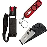 College Safety Bundle: Sabre Runner Jogger Pepper Spray, Sabre Personal Alarm and a Door Alarm - Lot of 3 as Shown (SABRE Red Personal Alarm)
