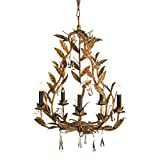 Palmier French Country Rustic Gold Leaves Chandelier