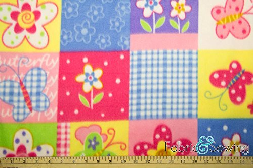 Butterfly Flower Patchwork Anti-Pill Polar Fleece Fabric Polyester 13 Oz 58-60 Fabric and Sewing