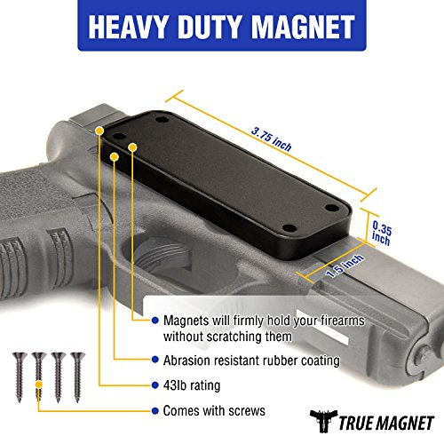Review Gun Magnet Mount For Revolver–9mm Magazine Holster For Car, Truck, Pistol & Home Use –Concealed Firearm Grip Mount With Scratch proof Rubber Coating For Handguns, Clip, Shotguns, Ruger 43lb Rated