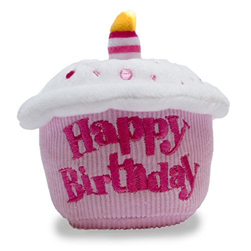 Cuddle Barn Birthday Cupcake Squeezer Lights Up and Plays Happy Birthday When Squeezed (Pink)