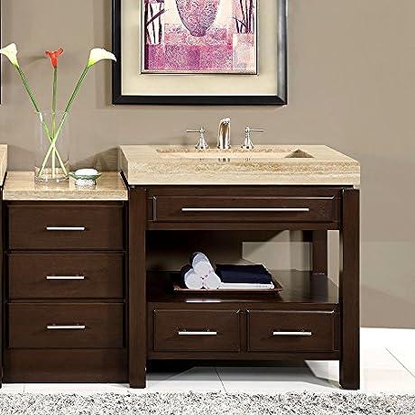 Silkroad Exclusive Stone Top Single Sink Bathroom Vanity With Modern Furniture Cabinet 56 Inch