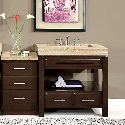 Silkroad Exclusive Stone Top Single Sink Bathroom Vanity with Modern Furniture Cabinet, 56-Inch by Silkroad Exclusive