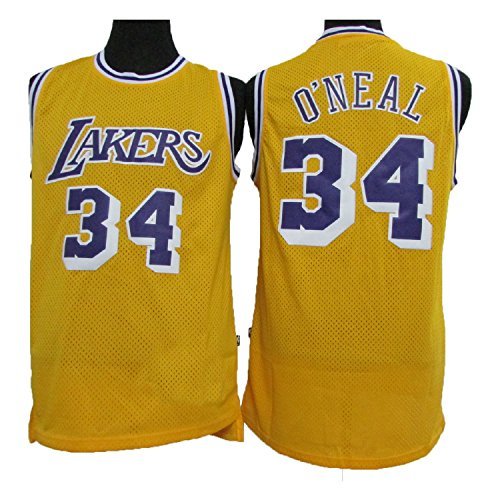 Men's O'Neal Jerseys Los Angeles 34 Shaquille Jersey Basketball Jersey Yellow (L)