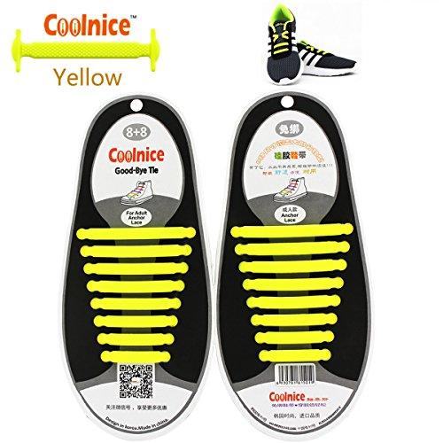 Coolnice de Cordones Elásticos para adultos y niños - ambientalmente seguro a prueba de agua Yellow