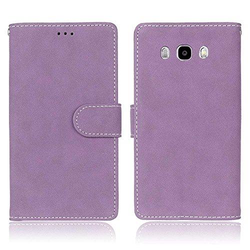 SRY Cartera de cuero de la PU superior con ranura para tarjeta / Stand Folio cubierta de la caja protectora para Samsung Galaxy J7 2016 J710 ( Color : Beige ) Purple