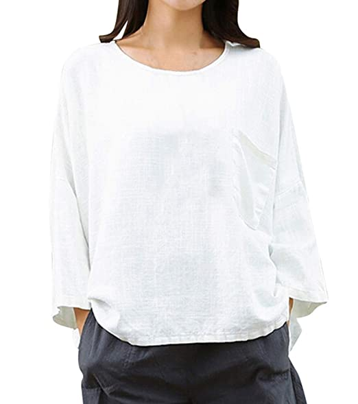 Tops Mujeres Suelto Lino T-Shirt Blusa Tees Tumblr Moda Cuello Redondo Manga 3/