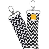 Lipstick Holder Keychain, 2pcs/6pcs Wave Pattern Lip Balm Chapstick Pouch Strap Key Ring Bag Mothers Girls Gift(Black)
