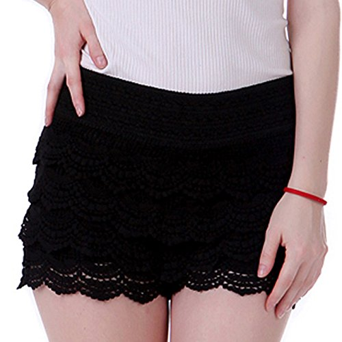 HDE Women's Fitted Scallop Hem Crochet Lace Mini Shorts (Black, X-Large) (Black Lace Shorts)