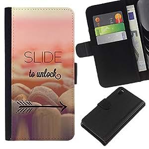 Stuss Case / Funda Carcasa PU de Cuero - Desbloquear Rosa Amarillo Flecha texto - Sony Xperia Z3 D6603