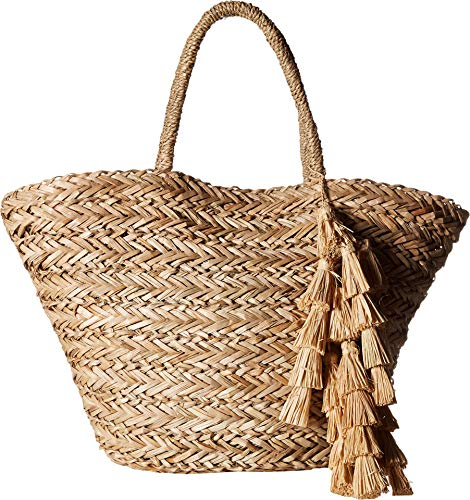 Hat Attack Women's Perfect Beach Tote with Long Pom Strand Trim Natural/Natural One Size
