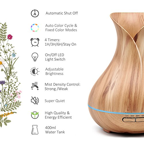 ASAKUKI 400ML Oil Diffuser, Quiet 5-in-1 Humidifier, Natural Home Diffuser 7 LED Color Changing Easy to Clean