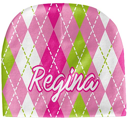 - YouCustomizeIt Pink & Green Argyle Baby Hat (Beanie) (Personalized)