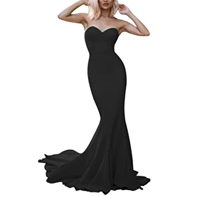 572062eb LeoGirl Womens Sexy Sleek Strapless Long Mermaid Prom Dresses Ladies  Glamorous Simple Formal Evening Gown (