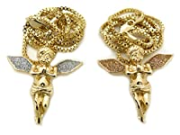 """Sparkled Iced Out Micro Double Angel Pendant 24""""Box Chain 2 Necklace Set Gold Silver Tone"""