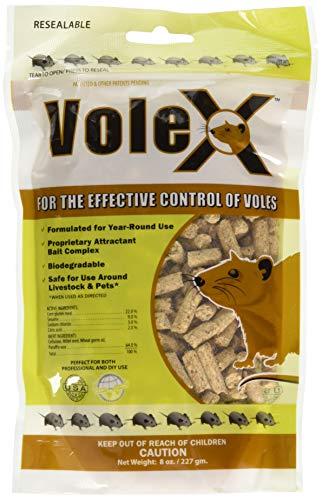 RatX EcoClear Products 620205, VoleX All-Natural Non-Toxic Humane Pellets, 8 oz. Bag Vole Killer (Best Bait For Voles)