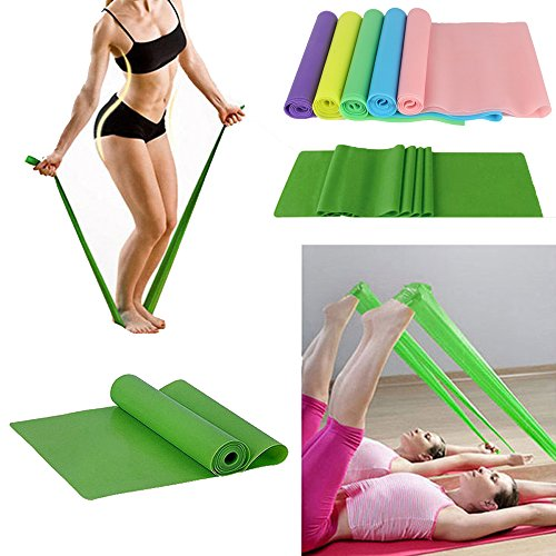 DODOING 1.5m Exercise Rubber Stretch Resistance Bands -Men & Women Home Gym Fitness Equipment for Physical Therapy, Pilates, Stretch, Yoga, Strength Training Workout, Pink