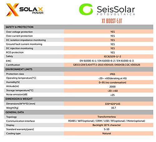 Solax Power BOOST X1 5 0 kW MONOFASE 2 MPP : Amazon co uk