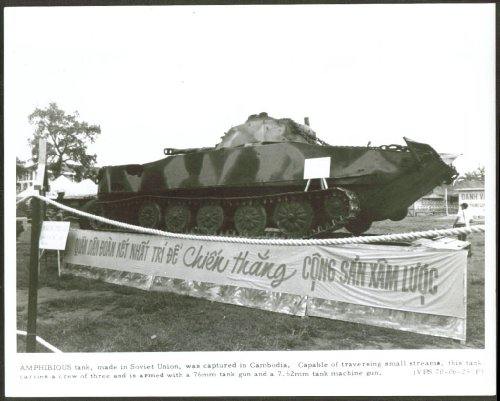 Captured Soviet-made Amphib Tank Cambodia 8x10 1970