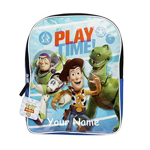 Personalized Disney Pixar Toy Story 4 Play Time Woody Buzz Lightyear and Rex Characters Plastic Front Backpack Bookbag for Back to School with Custom Name