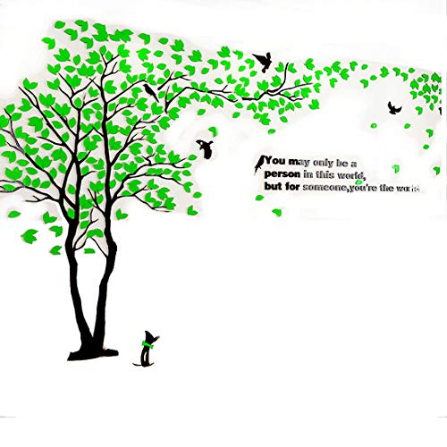 XMSJSIY 3D Wall Decals Big Tree Wall Stickers Acrylic DIY TV Setting Wall TV Sofa Backdrop for Wall Decor Home Decor-59 inch (Medium 2.9x1.5m, Green)