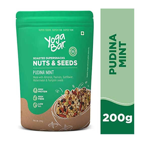 Yogabar Roasted Super Snacks Nuts & Seeds Mix - Pudina Mint, 200 gm