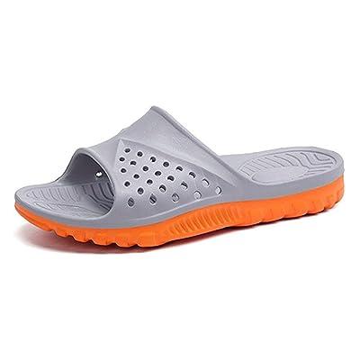 WODEBUY Men's Shower Slide Sandal Antislip for Bathroom and Pool Slipper Size 8.5 Gray Orange | Sport Sandals & Slides