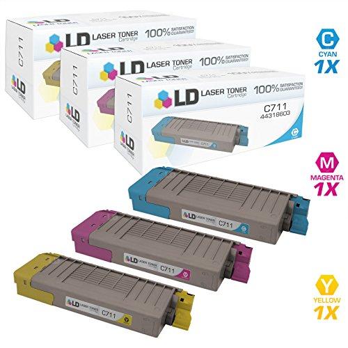 LD © Compatible Okidata C711 Set of 3 Toner Cartridges: 1 44318603 Cyan, 1 44318602 Magenta, and 1 44318601 Yellow