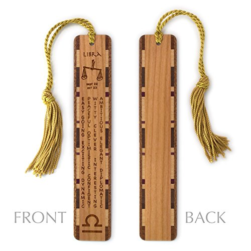 Zodiac Libra (Libra Zodiac Sign Artwork and Positive Personality Traits Engraved Wood Bookmark With Inlays and Tassel - Personalized version also available - search B074TJ5J42.)
