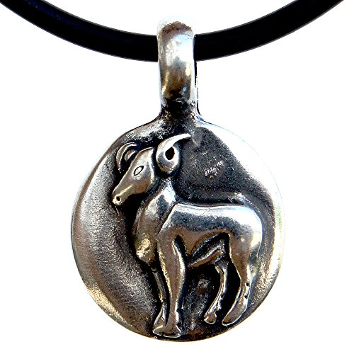 Aries 21 March – 20 April Zodiac sign pewter pendant black PVC cord (Ram Jewelry Pendant)